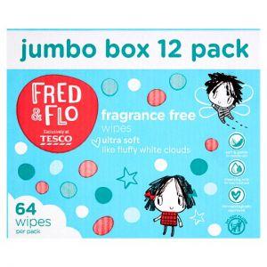 Fred & Flo Fragrance Free Wipes 12X64 Box