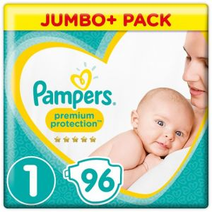 Pampers New Baby Size 1 Jumbo+ Pack 96 Nappies