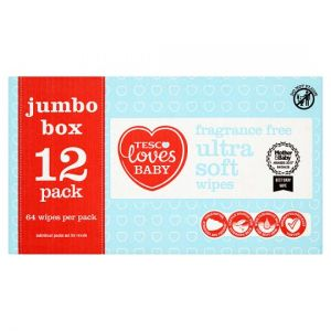 Tesco Loves Baby Ultra Soft Fragrance Free Wipes Jumbo Pack 12X64