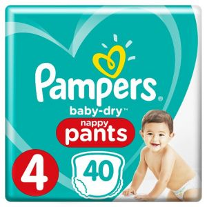 Pampers Baby Dry Pants Size 4 Essential Pack 40 Nappies