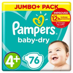 Pampers Baby Dry Size 4+ Jumbo+ Pack 76 Nappies