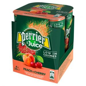 Perrier & Juice Peach & Cherry 4 Pack 250ml