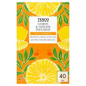 Tesco Lemon & Ginger 40 Tea Bags 80g