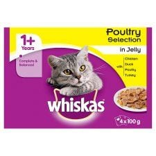 Whiskas 1+ Pouch Poultry Selection In Jelly 4X100g
