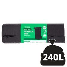 Tesco Flat Top Wheelie Bin Liners 10 Pack 240L