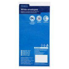 Tesco White Envelopes Dl Pack of 25