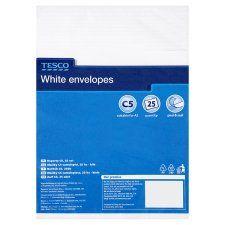 Tesco White C5 Envelopes 25Pk