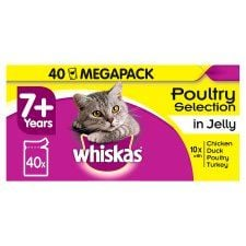 Whiskas 7+ Jelly Poultry Cat Senior Pouches 40 X100g