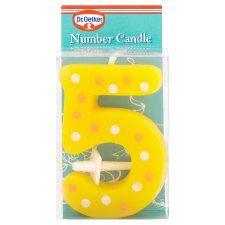 Dr Oetker Spotty Candle Number 5