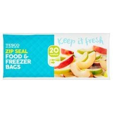 Tesco Zip Seal Food & Freezer Bags Medium 20S