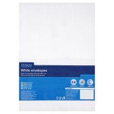 Tesco White C4 Envelopes 25Pk