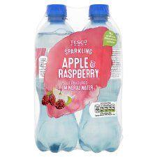 Tesco Apple & Raspberry No Added Sugar Sparkling Water 4X500ml