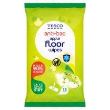 Tesco Antibacterial Floor Wipes Apple 15Pack