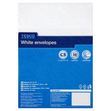 Tesco White C5 Envelopes 50 Pack