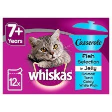 Whiskas Senior Fish Casserole Jelly 7+ Cat Pouches 12 Pack