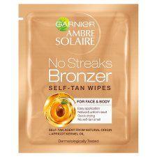 Ambre Solaire No Streaks Bronzer Self Tan Face Wipes 5.6ml