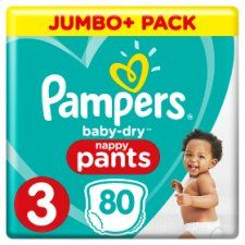 Pampers Baby Dry Size 3 Jumbo Plus Pack Nappy Pants 80