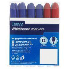 Tesco Whiteboard Marker 12 Pack