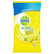 Dettol Power and Fresh Lemon 80 Cleaning Wipes