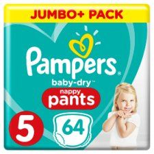 Pampers Baby Dry Size 5 Jumbo Plus Pack Nappy Pants 64