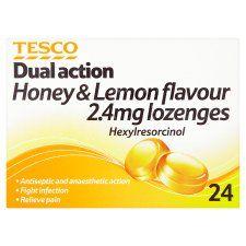 Tesco Honey & Lemon Dual Action Antiseptic Lozenges 24S