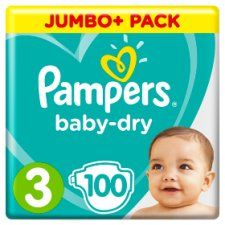 Pampers Baby Dry Size 3 Jumbo+ Pack 100 Nappies