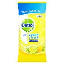 Dettol Clean and Fresh Lemon 120 Cleaning Wipes