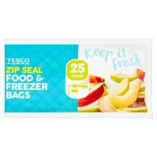 Tesco Zip Seal Food & Freezer Bags 25 Small