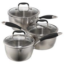 Go Cook Stainless Steel Saucepan Set 3Pc