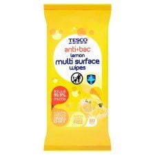 Tesco Antibacterial Lemon Multi Surface Wipes 80S