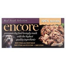Encore Dog Food Beef Steak Tins Multipack 5X156g
