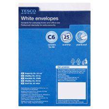 Tesco White C6 Envelopes 25Pk