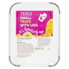 Tesco Oven Foil Small Trays With Lids 6 Pack