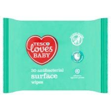 Tesco Loves Baby Antibacterial Surface Wipes 30 Pack