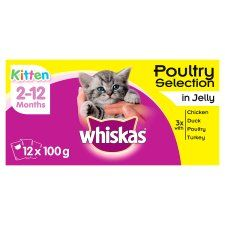 Whiskas 2-12 Month Poultry In Jelly Kitten 12 X100g