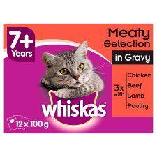 Whiskas 7+ Meat In Gravy Senior Cat Pouches 12 X100g