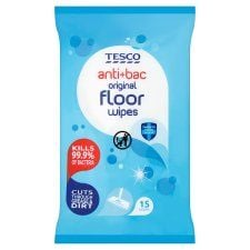 Tesco Floor Wipes Antibacterial 15'S