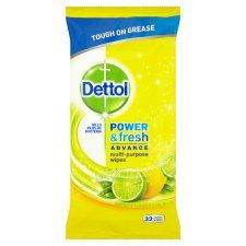 Dettol Power and Fresh Lemon 32 Cleaning Wipes