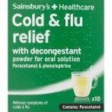 Sainsburys Cold and Flu with Decongestant Lemon Sachets 10