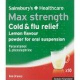 Sainsburys Max Cold and Flu Relief Lemon Sachets 10