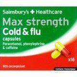 Sainsburys Max Strength Cold & Flu Capsules 16