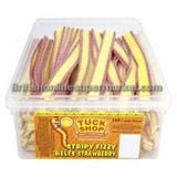 Bulk Buy Tub of Tuck Shop Stripy Fizzy Belts Strawberry 160 Candy Pieces