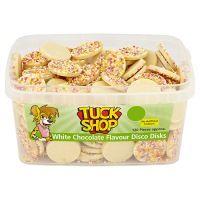 Bulk Buy Tub of Tuck Shop White Chocolate Flavour Disco Disks